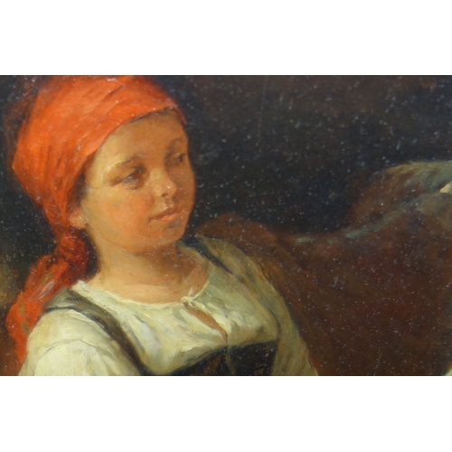 19 - KARL STUHLMÜLLER (1859-1930), INTERIOR - YOUNG WOMAN FEEDING CATTLE, OIL ON BOARD, SIGNED AND DATED ...