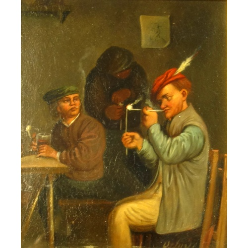 22 - AFTER OSTADE , INTERIOR SCENE, THE PIPE SMOKERS, ON METAL , SIGNED LOWER RIGHT, (28.8 CM X 15.7 CM)...