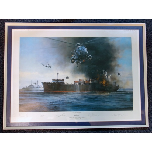 24 - ROBERT TAYLOR (1946), 'SEA KING RESCUE', PRINT (COLOURED) LTD. EDN. 45/100, SIGNED (45 CM X 63.5 CM)...