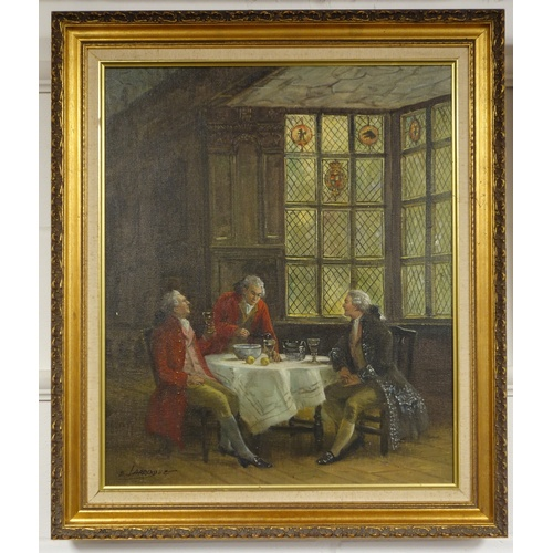 25 - E. LARROQUE, 20TH CENTURY, GENTLEMEN IN A 18TH CENTURY SCENE ENJOYING A GLASS OF WINE AT TABLE NEAR ...