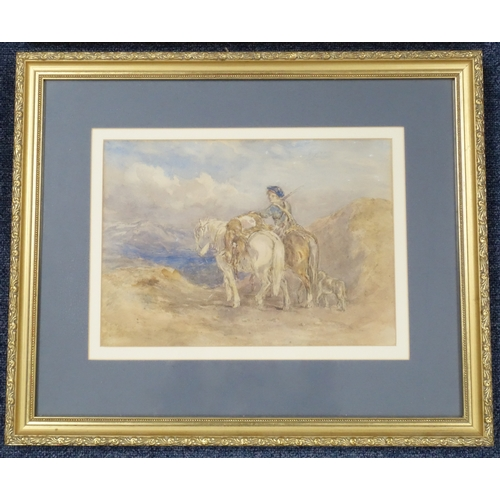 27 - ENGLISH SCHOOL, 19TH CENTURY, YOUNG HUNTSMAN WITH TWO HORSES, CARRYING GAME IN A HIGHLAND LANDSCAPE ...
