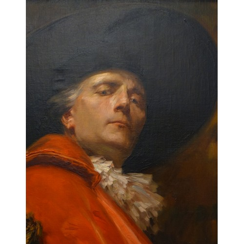 28 - ALEX DE ANDREIS (1880-1929) PORTRAIT OF A CAVALIER, OIL ON CANVAS, IN A GILT FRAME,  SIGNED LOWER RI...