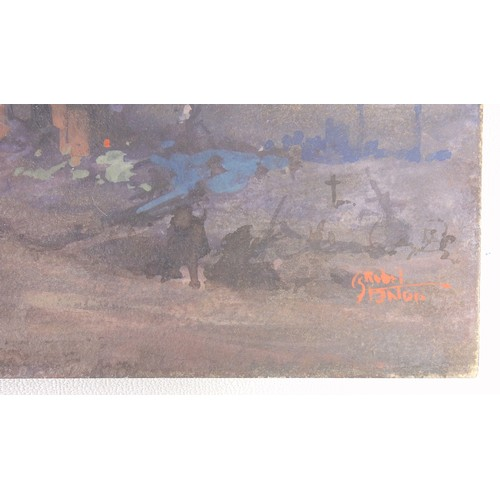 9 - CHARLES REBEL STANTON (1890-1954), WW1, FRANCE-FIGURES AND CHURCH RUINS, SIGNED LOWER RIGHT AND INSC...