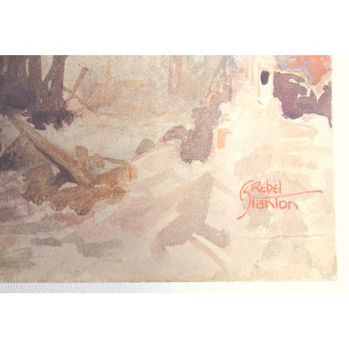 11 - CHARLES REBEL STANTON (1890-1954), WW1, FRANCE, 'PHILOSOPHE, MARCH 1918', SIGNED BOTTOM RIGHT AND IN...