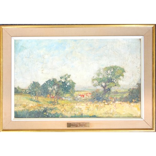 13 - CHARLES REBEL STANTON (1890-1954), 'PASTORAL SCENE', CIRCA 1930'S, OIL ON BOARD, 31 X 49.7 CM....