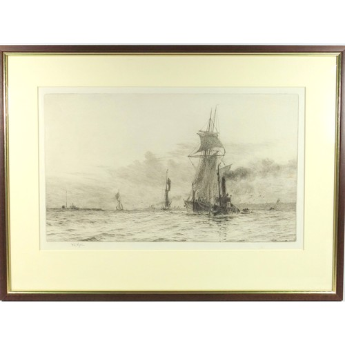 1 - WILLIAM LIONEL WYLLIE (1851-1931) 'SLIPPING THE TOW ROPE', SIGNED IN PENCIL IN THE MARGIN (22 CM X 3...
