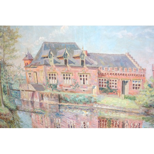 15 - F. BREYSSENT, LAKE WITH DUCKS, TREES, HOUSE AND CASTLE, SIGNED, OIL ON CANVAS, 54 X 74 CM...