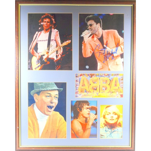 29 - ROCK & POP MUSICIANS - AUTOGRAPHED IMAGES COMPRISING: ABBA POSTCARD (SIGNED BY ALL FOUR MEMBERS), MI...