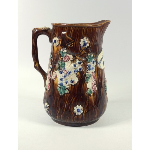 243 - LATE VICTORIAN BARGE WARE JUG WITH PAINTED FLORAL DECORATION AND INSCRIPTION 'MRS ALFRED WILLIAMS WE...
