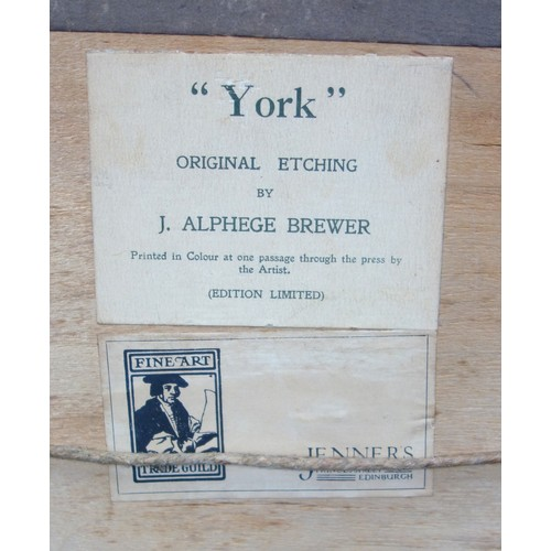 2 - JAMES ALPHEGE BREWER, 'OXFORD'(MAGDALEN FROM THE CHERWELL) AND 'YORK' (PETERGATE), BOTH SIGNED AND I...