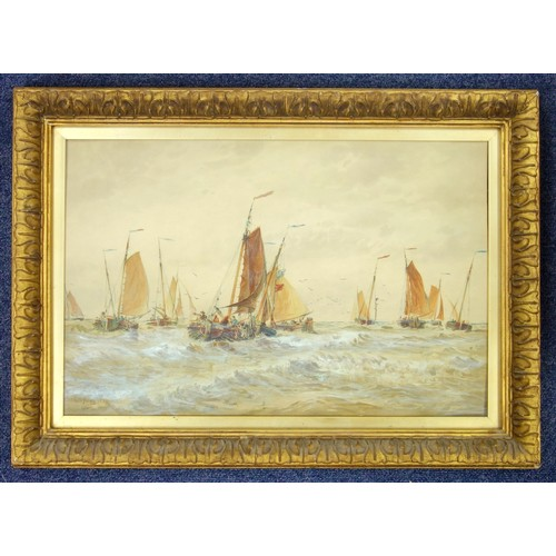 4 - AFTER T. B. HARDY, FISHING SMACKS IN A CHOPPY SEA, WATERCOLOUR, 33 X 50.7 CM...