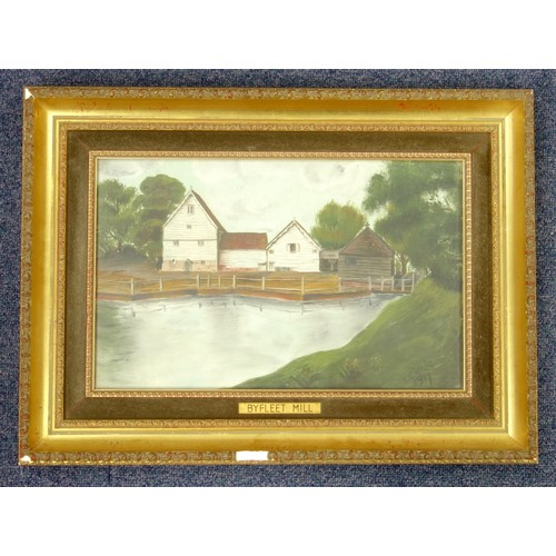 8 - F. CHOATE?, BYFLEET MILL, SIGNED AND DATED 1917, OIL ON CANVAS, (21.7 X 34.7 CM) AND M R G (MISS M R...