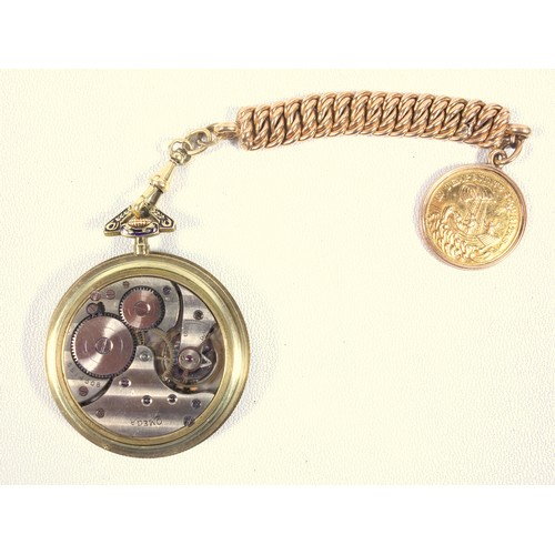 42A - OMEGA 14 CT GOLD OPEN FACED POCKET WATCH WITH A CIRCULAR CHAMPAGNE DIAL, AND BLACK ROMAN NUMERALS, S...
