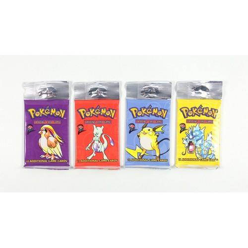 17 - Pokémon TCG Base Set 2 Booster Packs– Pidgeot, Raichu, Gyarados and Mewtwo, sealed in original packa...