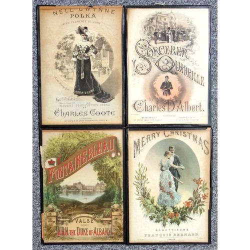 40 - 10 Victorian music score covers including 'The Beleaguered City', all glazed, 35 x 25cm approx.