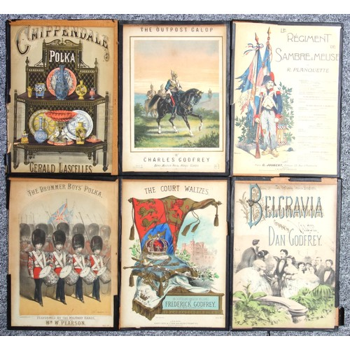 41 - 10 Victorian music score covers including 'Chippendale Polka', all glazed, 35 x 25cm approx. (10)