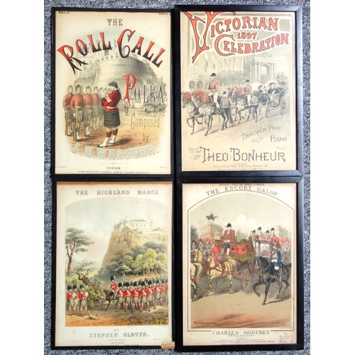 42 - 10 Victorian music score covers including 'Vivacite Polka', all glazed, 35 x 25cm approx. (10)