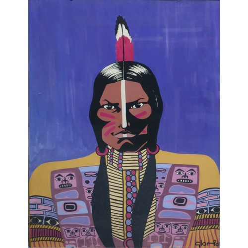 45 - Gloria. 'A portrait study of a native Indian, head and shoulders, oil on paper, signed lower right, ...