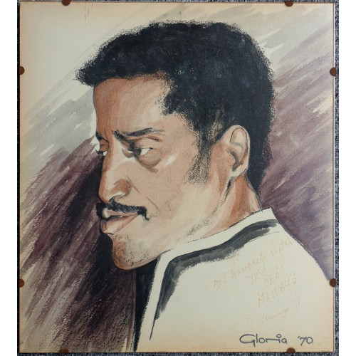 47 - Gloria ' A portrait head study of Sammy Davis Jnr' in profile, mixed media, signed and dated'70, als...