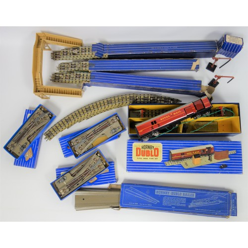 35 - Hornby Dublo T.P.O. Mail Van Set, boxed, assorted track accessories, switch points, transformers, Me...