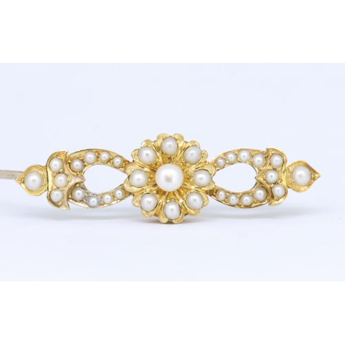 1 - ANTIQUE VICTORIAN PEARL BROOCH ANTIQUE VICTORIAN PEARL BROOCH, of openwork floral and scrolling desi...