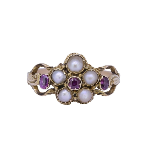 11 - ANTIQUE RUBY AND PEARL CLUSTER RING ANTIQUE RUBY AND PEARL CLUSTER RING, set with a central ruby, su...