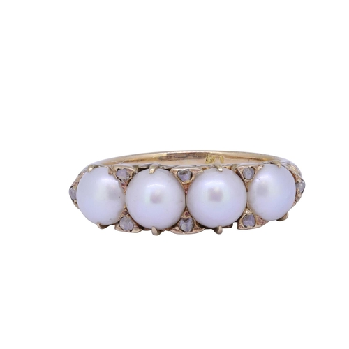 12 - PEARL AND DIAMOND RING PEARL AND DIAMOND RING, set with 4 pearls, accentuated by 8 diamonds. The sho...