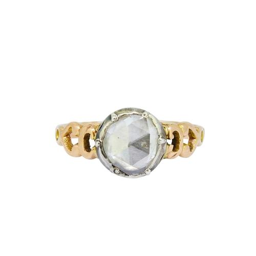 13 - ANTIQUE DIAMOND SOLITAIRE RING ANTIQUE DIAMOND SOLITAIRE RING, set with a rose cut diamond of approx...