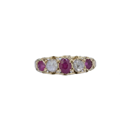 19 - RUBY AND DIAMOND 5-STONE RING RUBY AND DIAMOND 5-STONE RING, set with 3 rubies totalling approx. 0.9...