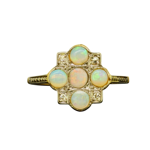 20 - OPAL AND DIAMOND CLUSTER RING OPAL AND DIAMOND CLUSTER RING, set with 5 opals, accentuated with 4 di...