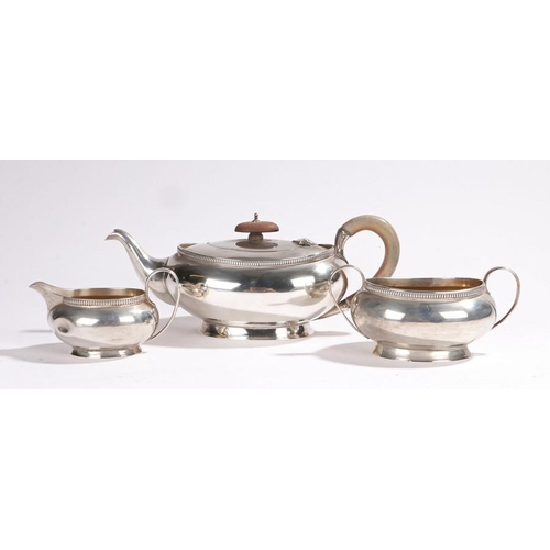 3 - silver 3 pieace teaset George V silver tea set, Birmingham 1932, maker Adie Brothers Ltd, consisting...