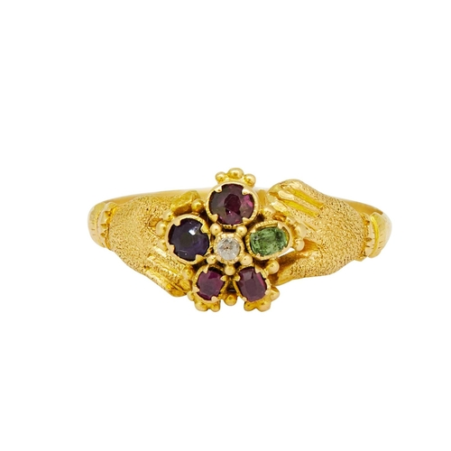 31 - ANTIQUE HAND REGARD RING ANTIQUE HAND REGARD RING, set with a Ruby, emerald, garnet, amethyst, ruby ...
