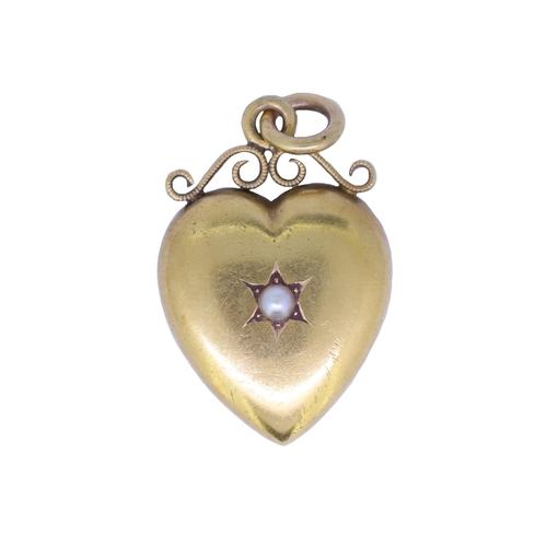 36 - ANTIQUE VICTORIAN PEARL HEART PENDANT ANTIQUE VICTORIAN PEARL HEART PENDANT, the heart set to the ce...