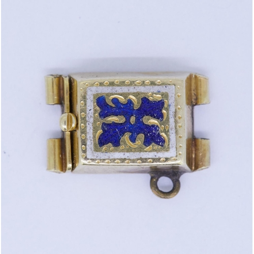 42 - ANTIQUE ENAMEL CLASP ANTIQUE ENAMEL CLASP, decorated with blue enamel. 2.8 grams....