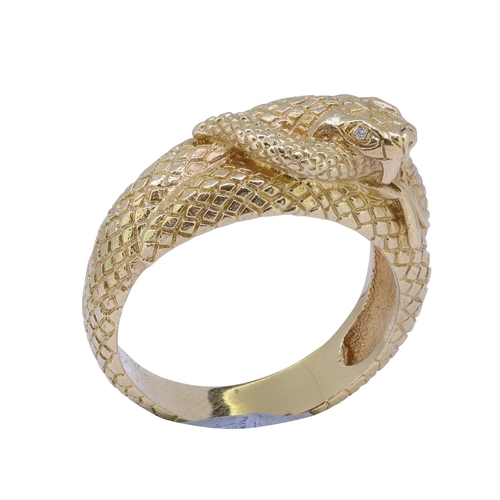 44 - RELIEF COILED DIAMOND SNAKE RING RELIEF COILED DIAMOND SNAKE RING, overall with decoration to mimic ...