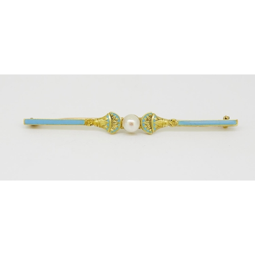 47 - ANTIQUE PEARL AND ENAMEL BROOCH ANTIQUE PEARL AND ENAMEL BROOCH, set with a central pearl, flanked o...