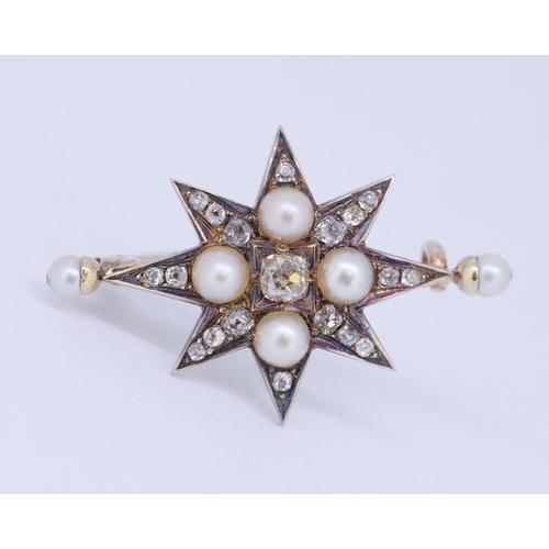 48 - ANTIQUE VICTORIAN PEARL AND DIAMOND STAR BROOCH ANTIQUE VICTORIAN PEARL AND DIAMOND STAR BROOCH, set...