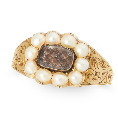 49 - ANTIQUE PEARL MEMORI RING ANTIQUE PEARL MEMORI RING, set to the center with a locket with hair, surr...