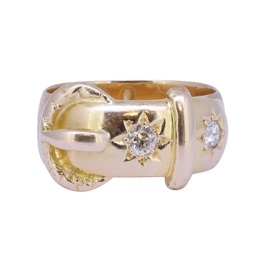 5 - ANTIQUE DIAMOND BUCKLE RING ANTIQUE DIAMOND BUCKLE RING, designed in the shape of a belt with buckle...