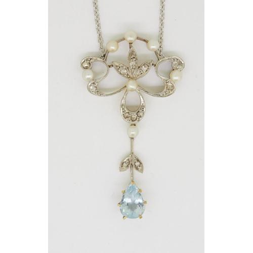 51 - ART-NOUVEAU AQUAMARINE AND DIAMOND DROP PENDANT NECKLACE ART-NOUVEAU AQUAMARINE, PEARL AND DIAMOND D...
