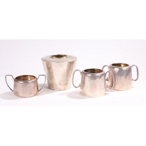 56 - plated vase with sugar bowls Art Deco style plated vase with tapering body, three plated twin handle...