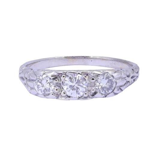59 - DIAMOND 3 STONE RING, DIAMOND 3 STONE RING, set with diamonds totalling approx. 0.75 ct. Size N. 3.8...