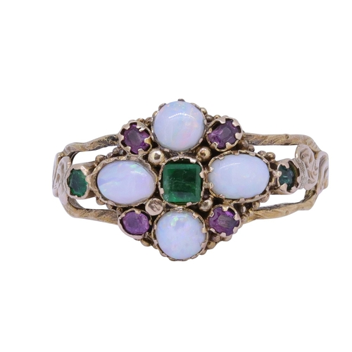 6 - ANTIQUE OPAL AND GEMSTONE RING ANTIQUE OPAL EMERALD AND RUBY RING, set with 4 cabochon cut opals, fl...