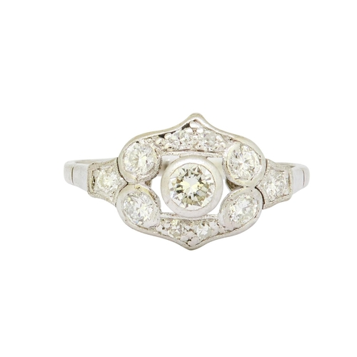 60 - DIAMOND DRESS RING DIAMOND DRESS RING, set with diamond in openwork head. Diamonds totalling approx....