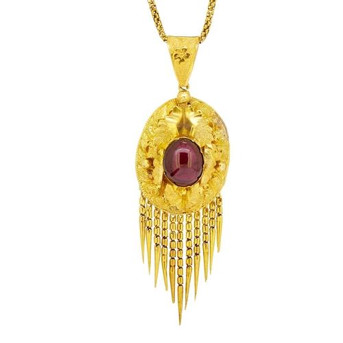 9 - ANTIQUE GARNET PENDANT WITH NECKLACE ANTIQUE GARNET PENDANT WITH NECKLACE, the pendant set to the ce...