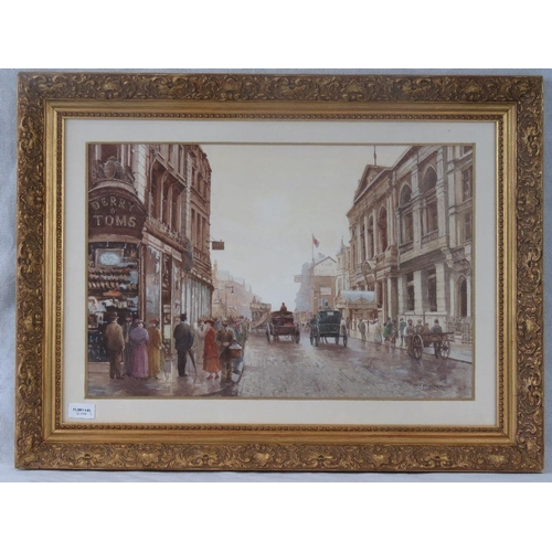 1002 - K. Cherrington an early 20th century watercolour street scene of High Street Kensington, titled and ...