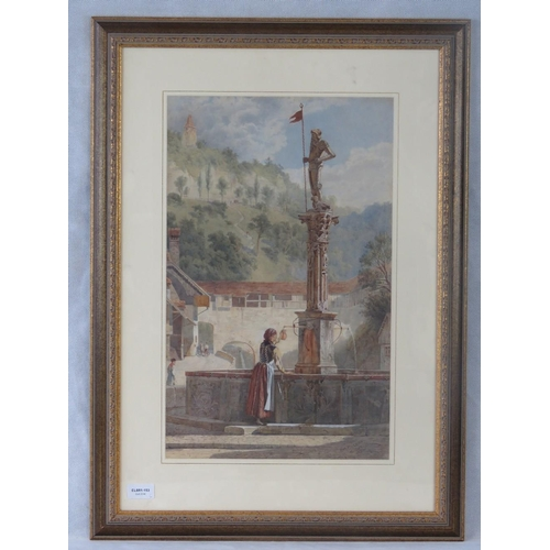 1004 - Herbert Menzies Marshall, fountain at Fribourg, watercolour, signed, titled and dated ''1875'' lower...