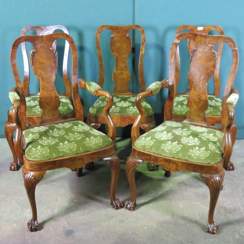 1116 - A set of five (three + two) Queen Anne style walnut dinning chairs raised over cabriole legs termina...