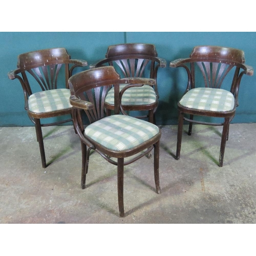 1136 - A set of four c1930s bentwood dinning chairs of 'wraparound' form....