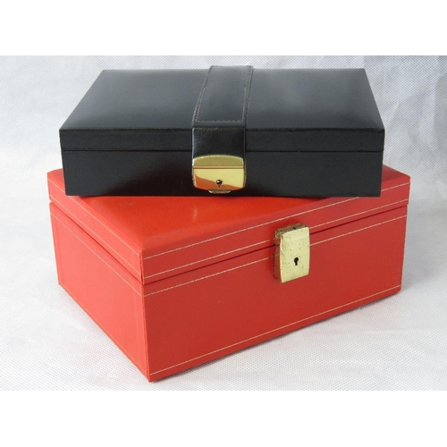 130 - Two leatherette jewellery caskets....